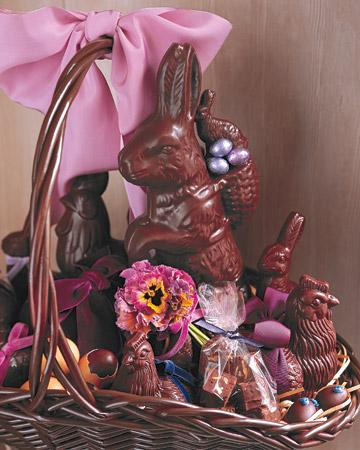 Chocolate Bunnies and Pansies Easter Basket - Easter Decorating Ideas in Pictures & How-To Examples