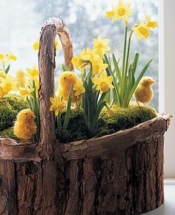 Daffodil and Pom-Pom Chicks Basket - Easter Decorating Ideas in Pictures & How-To Examples
