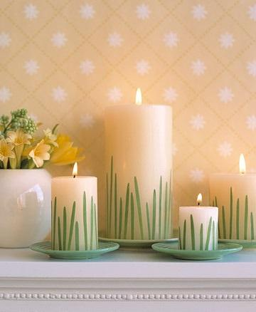 Grass Candles - Easter Decorating Ideas in Pictures & How-To Examples